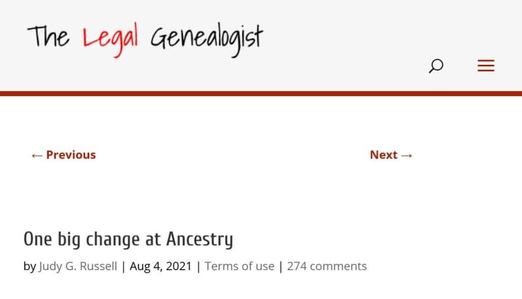 The Legal Genealogist Blog