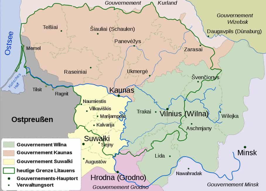 Verwaltungseinteilung Litauens in Gouvernements im russischen Zarenreich 1867-1914