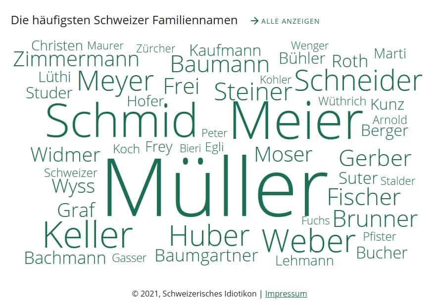 Grafik zu den häufigsten Schweizer Familiennamen