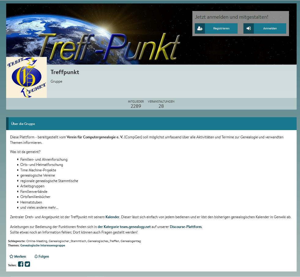 Team-Plattform CompGen-Treffpunkt -auch mit Kalender für Online-Genealogie-Veranstaltungen