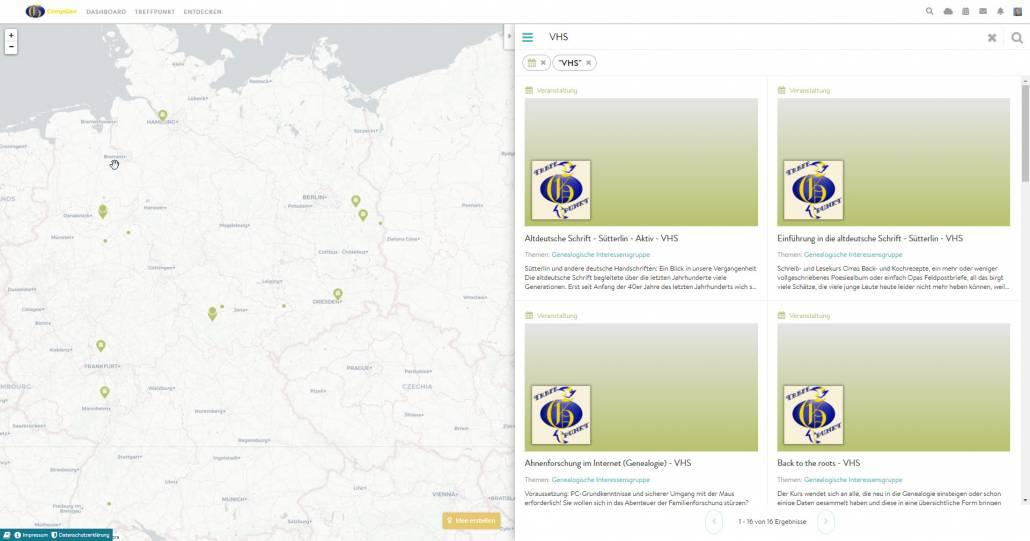 In der Karte sind die Orte gekennzeichnet, an denen Volkshochschulen Kurse zu Familien- und Ahnenforschung anbieten