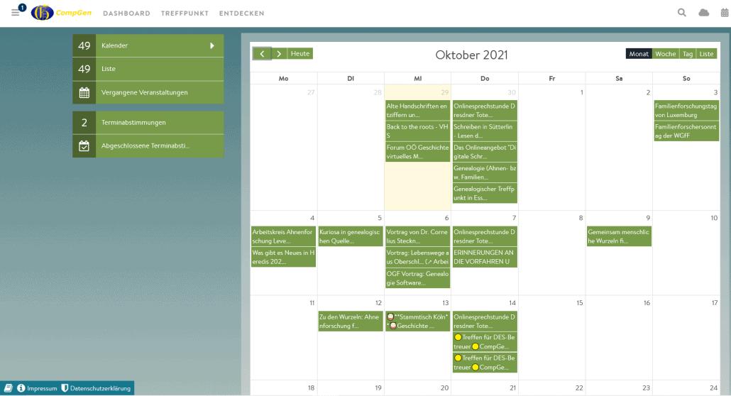 Veranstaltungen in der KW 40 im CompGen-Kalender