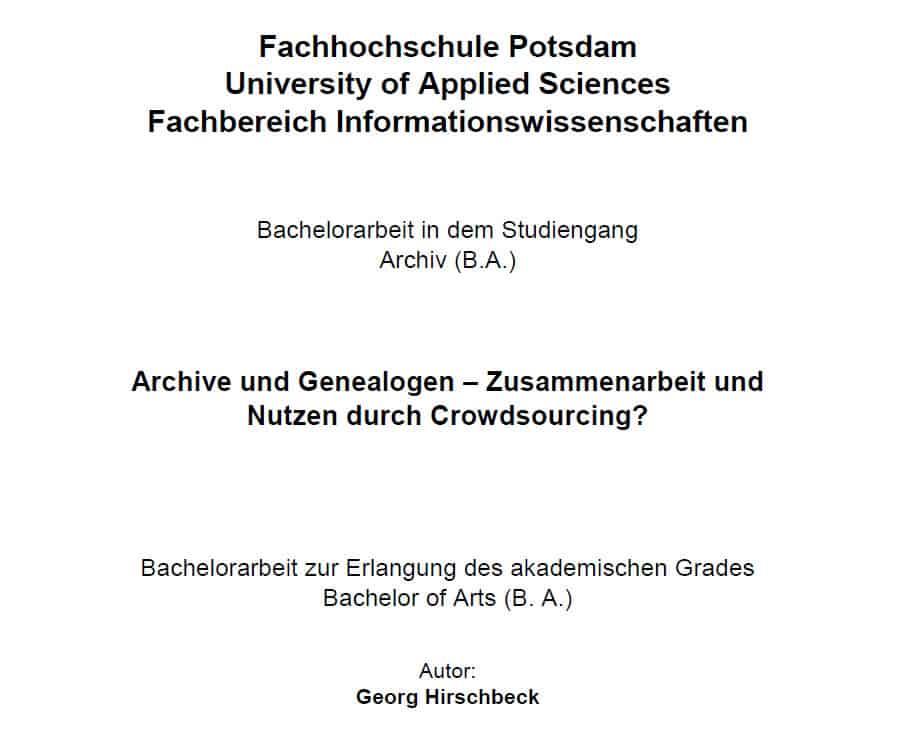 Titelseite der Bachelorarbeit von Georg Hirschbeck: Archive und Genealogen - Zusammenarbeit und Nutzen durch Crowdsourcing?