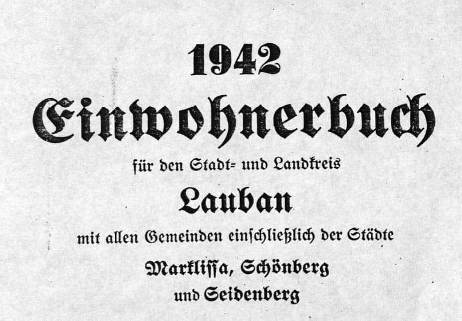 In der Adressbücher-Erfassung: Das Einwohnerbuch Lauban