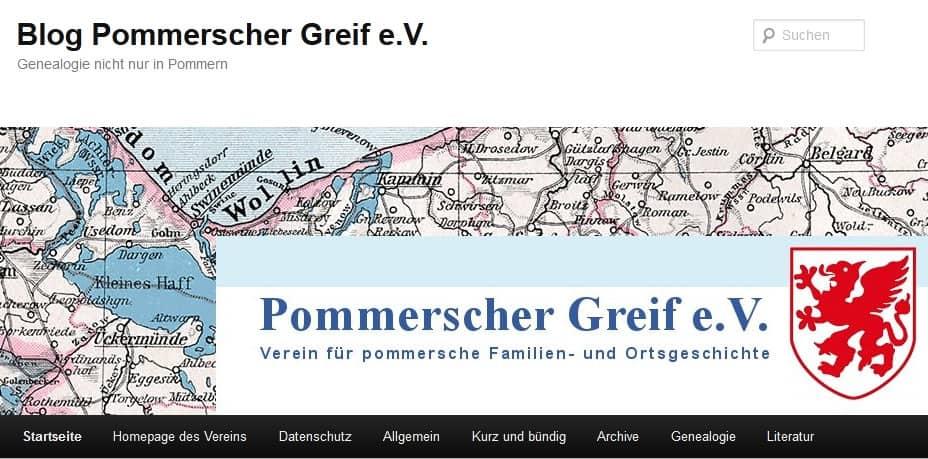 Die Blog-Seite in der Internet-Präsenz des Pommerschen Greif e.V.
