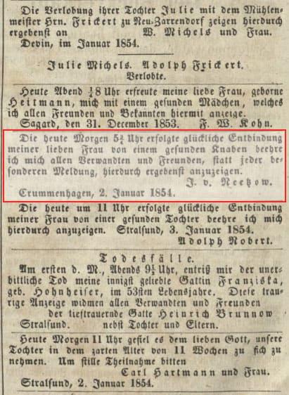 Familienanzeigen in historischen Zeitungen
