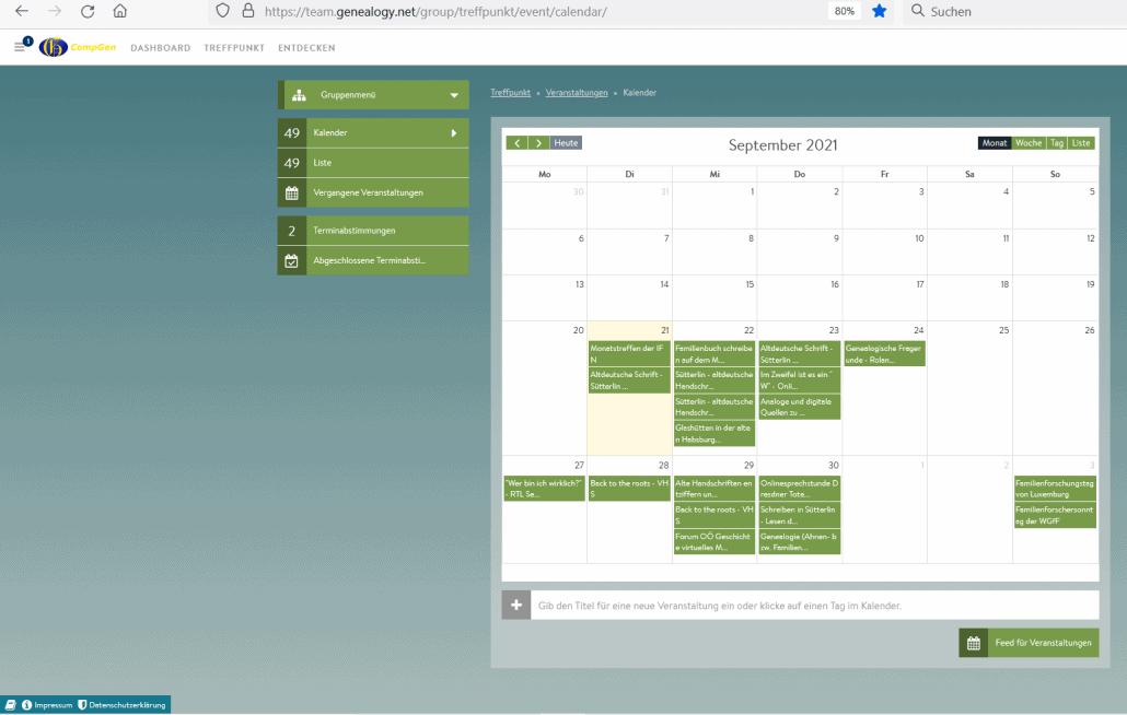 Im CompGen-TreffPunkt: Die Genealogie-Veranstaltungen in der 39. Kalenderwoche