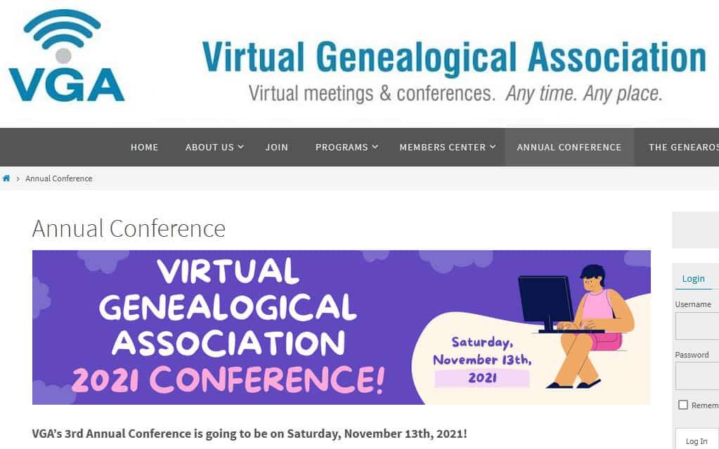 """Ankündigung der Jahreskonferenz des Virtuellen Genealogievereins """"Virtual Genealogical Association"""""""