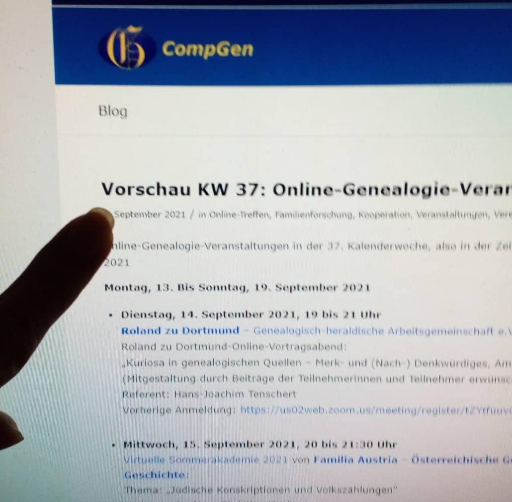 Vorschau KW 37 Online-Genealogie-Veranstaltungen