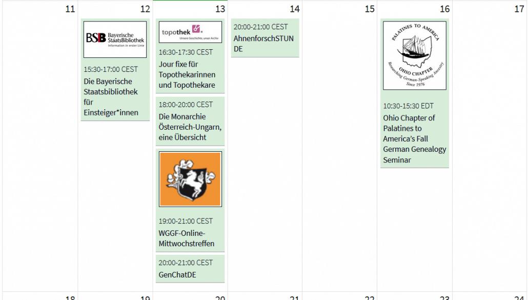 Die Online-Genealogie-Veranstaltungen in der KW 41 im Kalender des AhnenforscherstammtischUnna