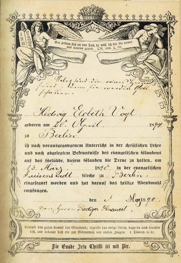 Die Widmung in der Berliner Konfirmationsbibel von 1890, die jetzt in Kapstadt, Südafrika gefunden wurde