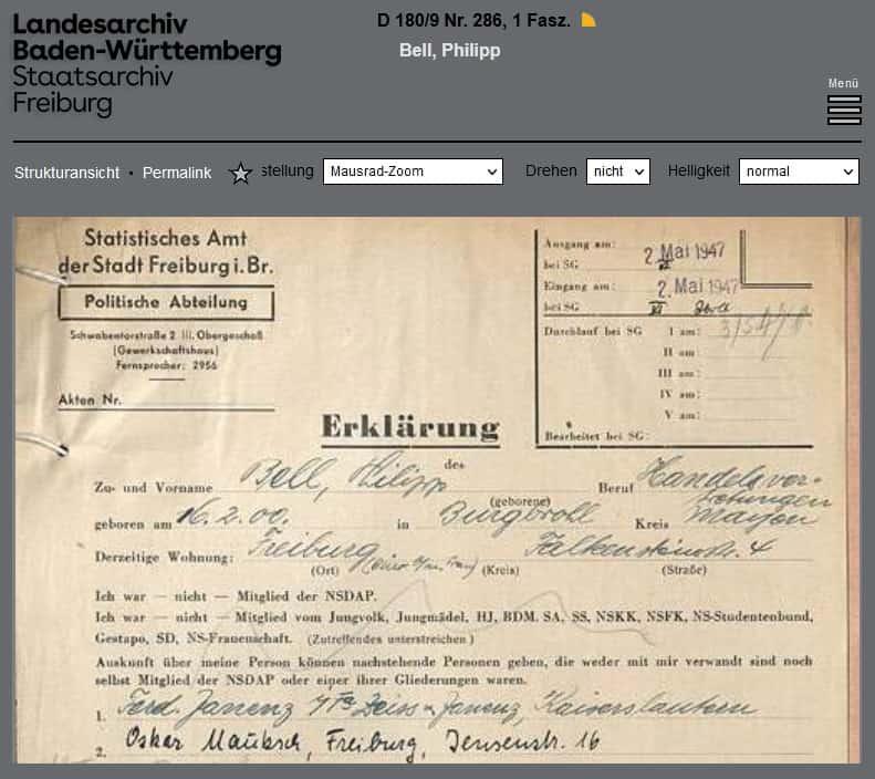 Landearchiv Baden-Württemberg Staatsarchiv Freiburg Entnazifizierungsakten der Spruchkammer Südbaden D 1890/9 Nr. 286 Philipp Bell