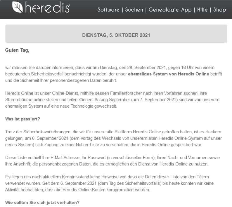 Anfang der Information über das Daten-Leck an Interessenten des Genealogie-Programms Heredis