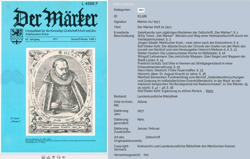 """Zeitschrift """"Der Märker"""", hier Heft 1/1975, aus dem Märkischen Kreis und der ehemaligen Grafschaft Mark"""