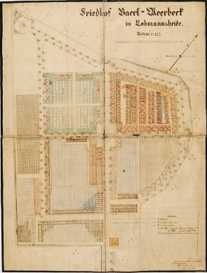 Friedhofsbücher Moers: Alter Lageplan des Friedhofs Baerl-Weebeck in Moers